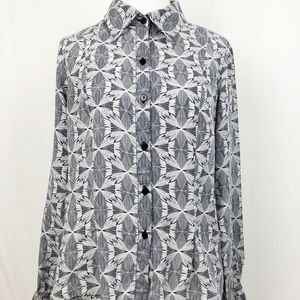 Pendleton Women's Silk Button Down Blouse Geo